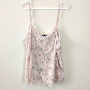 Maurices Silky Floral Tank Top With Lace Overlay